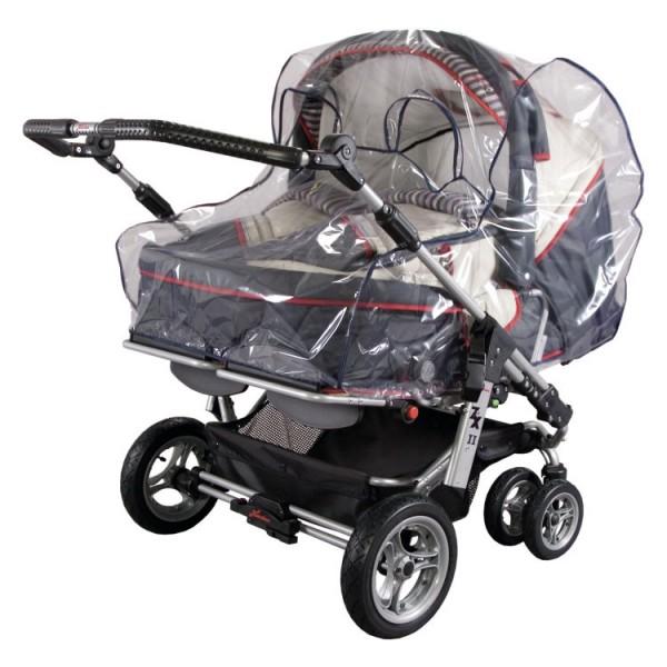 Regenverdeck Klarsichtfolie XXL für Zwillins-Kinderwagen